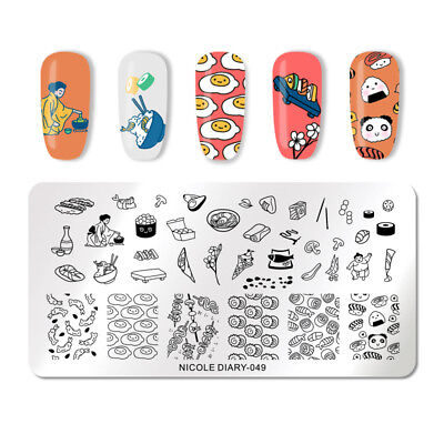NICOLE DIARY Nail Stamping Plates Sushi Poached Egg Stamp Image Template 049