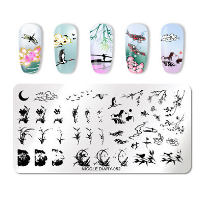 NICOLE DIARY Nail Stamping Plates Moon Reed Lotus Nail Template Manicure 052