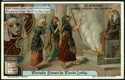 Ancient Egyptian Religious Ceremony Masks Religion Nile c1910 Trade Ad Card