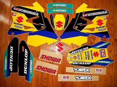 TEAM YOSHIMURA SUZUKI RM125 RM250 GRAPHICS KIT (01-08) w/ WHITE BACKGROUNDS blue