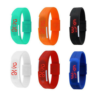 Touch Screen LED Digital Watch Silicone Sport Wrist Bracelet Kids Women Girl Boy