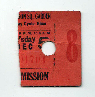 1920s MADISON SQUARE GARDEN Ticket Stub CYCLING Cycle Race NEW YORK CITY NYC