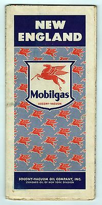 1940s MOBILGAS Oil MOBIL New England Road Map MASSACHUSETTS Connecticut VERMONT