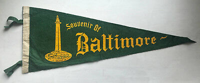 EARLY BALTIMORE MARYLAND Felt Pennant VINTAGE Antique MD Washington Monument