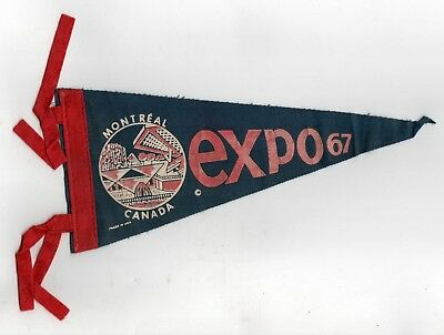 EXPO 67 Vintage PENNANT Montreal Quebec Canada WORLD'S FAIR Exposition MTL QC