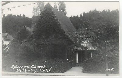 MILL VALLEY California RPPC RP Real Photo Postcard ZAN STARK Episcopal Church CA
