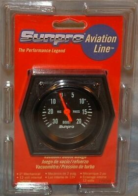 Sunpro 2 Inch Mechanical Vacuum Gauge New Black / Black Bezel CP8085