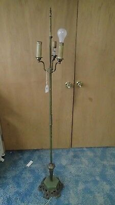 Antique Unrestored 3-Bulb Metal Floor Lamp Green Marble Cast Iron Base