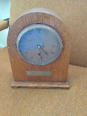 1920's Vintage Armstrong- Manchester wooden Mantle clock 19x24x8cm dial 12cm dia
