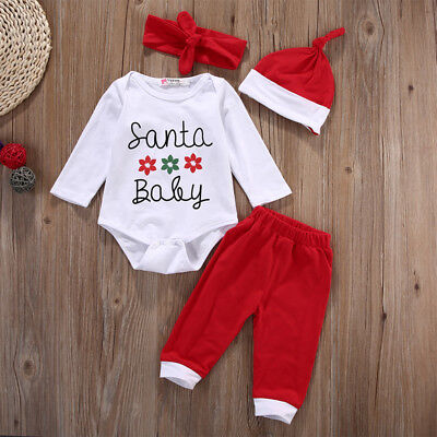 Newborn Baby Boys Girls 4Pcs Christmas Clothes Romper Pants Hat Headband Outfits