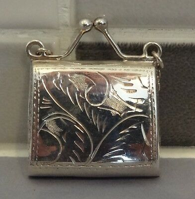 Vintage Sterling Silver Handbag Shaped Stamp Case With Chain