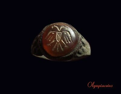 ** EF ** Ancient Byzantine or Medieval Bronze ring ** DOUBLE HEADED EAGLE **