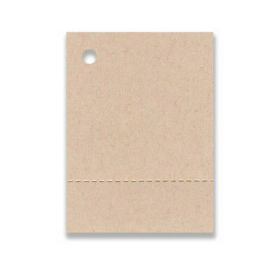 "100 BLANK PERFORATED KRAFT HANG TAGS 1-1/2""x2-1/8"" +STRINGS. PRICE CRAFTS, SHOPS"