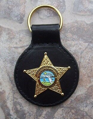 Florida Fla State of FL Sheriff Office Police Mini Badge Star Key Chain - Gold