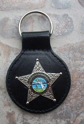 Florida Fla State of FL Sheriff Office Police Mini Badge Star Key Chain - Silver