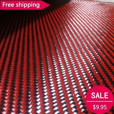 """Free shipping Red Kevlar & 3K Carbon fiber mixed Fabric 12"""" / 30cm wide 2x2"""