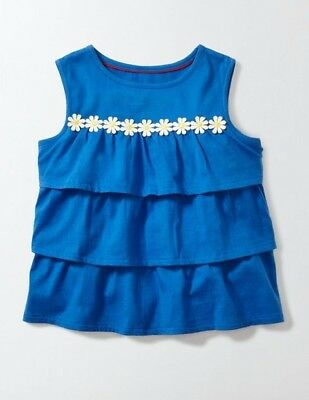 Mini Boden Girl's Blue Ruffle Top with Daisy Embroidery Size 5/6 6/7 yrs NWT