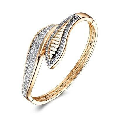 Stunning Charms Wedding Party Sapphire Crystal Two Gold Tone Bangle Bracelet