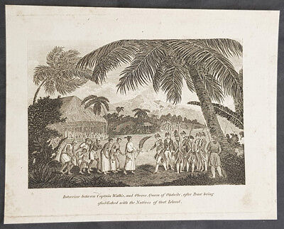 1788 William Henry Hall Antique Print Captain Wallis & Queen Oberea Tahiti, 1767