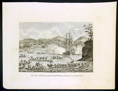 1788 William Henry Hall Antique Print The Attack on Captain Wallis, Tahiti 1767