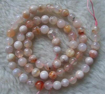 6mm 8mm 10mm Natural Sakura Agate Round Loose Beads 16""