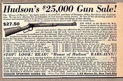 1937 Print Ad Winchester Model 94 Lever Action Rifles Hudson Sporting Goods NY