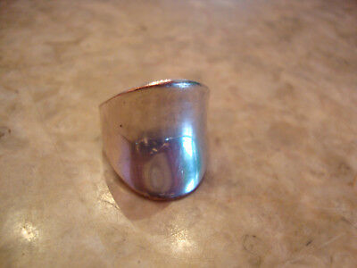 Vintage Wide Silver Metal Concave High Polished Reflective Shiny Statement Ring