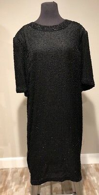 Plus Sz 4X Vintage Lawrence Kazar Beaded Sequined Black Silk Cocktail Dress NEW