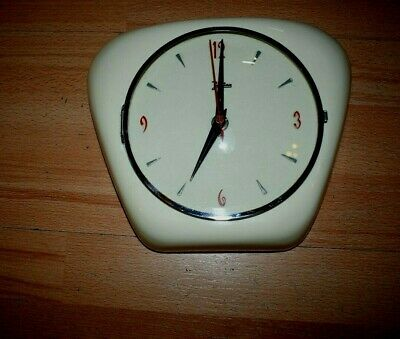 50er 60er Kitchen Clock Palmtag Wall Electric Plastic 50s 60s Rare Top