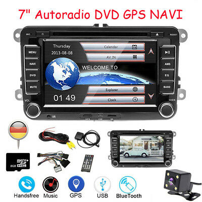 "Autoradio DVD GPS NAVI 7"" 2DIN Bluetooth für VW Passat Golf Touran Polo Kamera"