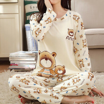 Women's Pyjamas Nightgown Sleepwear Bear Pajamas Long Sleeve 2 Pieces Set Gifts
