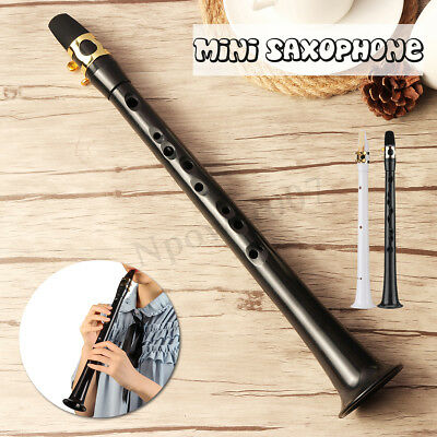 White/Black Little Sax Mini Alto Saxophone Simple Type Pocket Music Tool  w/Bag