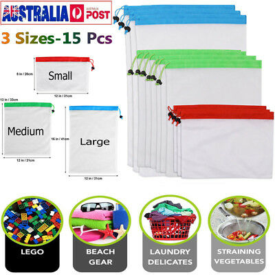 15x Eco Friendly Reusable Mesh Produce Bags Superior Double-Stitched Strength AU