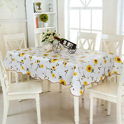 Print Waterproof Oil Proof  Table Cloth Cover Dining Home Kitchen Table Decor CB