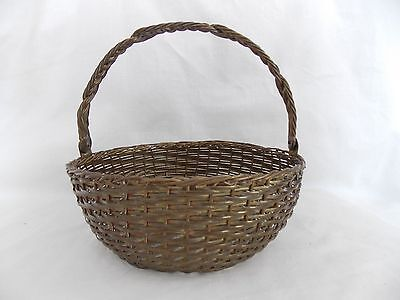 "Vintage Brass Wire Woven Basket 8"" Round with Hinged Handle India #4619"