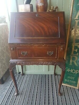 Lovely Vintage Dark Wood Mahogany Bureau. Courier Service Available