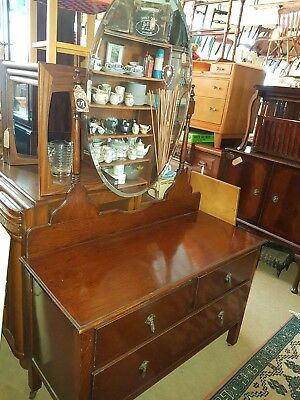 Lovely Vintage Oak Dressing Table With Oval Mirror. Courier Delivery Service