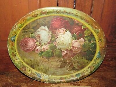 Antique Colorado Metal Advertising Tray Blank -Tin Litho Roses - Beer