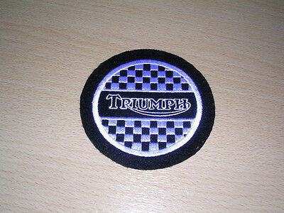Classic Triumph Chequered Motorcycle Embroidered Sew On Patch