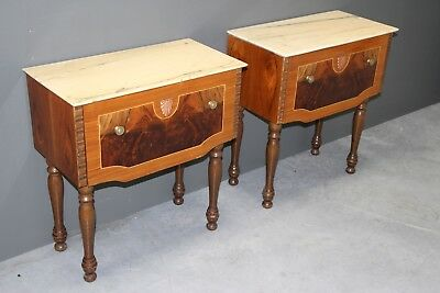 Vintage pair of marquetry bedside cabinets marble tops mid century original 1960