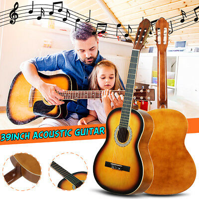 39 inch Classical Acoustic Guitar Music Instrument 3920 Sunset Yellow Beginners