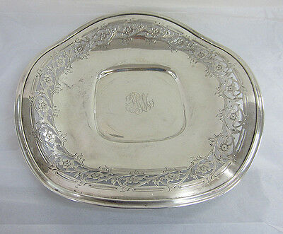 Sterling Silver Frank M. Whiting Pierced Flower Severing Tray with Arched Edges