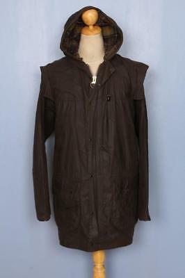 BARBOUR Classic Durham Hooded Waxed Jacket Olive Size 42 Large