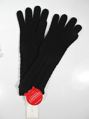 $38 Charter Club Touch Of Cashmere Wool Cable Cuff Gloves in Black