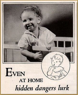 1934 LYSOL DISINFECTANT Print Ad Deadly disease Germs Photo Cute Boy