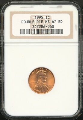 1995 Lincoln Memorial Cent DDO - NGC MS67 RD - Double Die Obverse Error