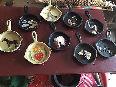 Vintage Miniature Cast Iron Skillet 9 Different Old Original