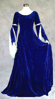 Blue and Silver Velvet Medieval Renaissance Gown Dress Cosplay Costume LOTR 2X