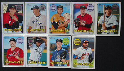 2018 Topps Heritage Minor League Detroit Tigers Team Set of 9 Baseball Cards