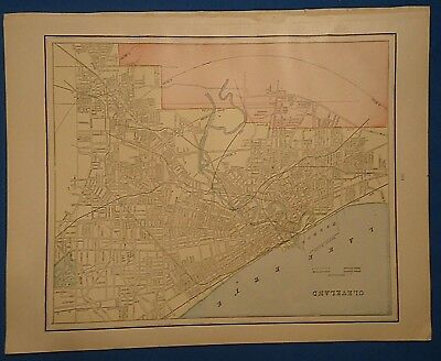 Vintage 1892 CLEVELAND, OHIO MAP ~ Old Antique Original Atlas Map 122018